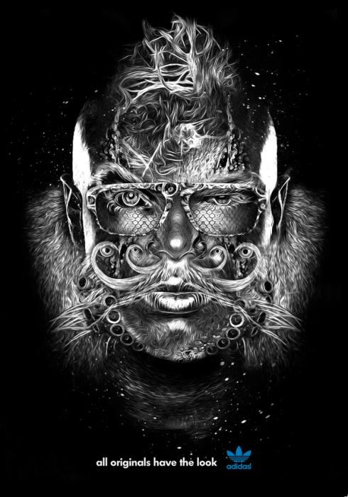 Чёрно-белый digital art