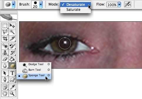 Эффект красных глаз в фотошопе