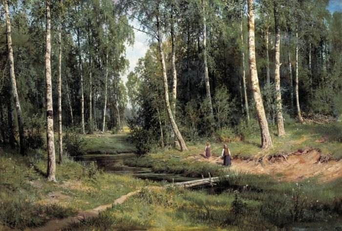 Картина Ручей в березовом лесу