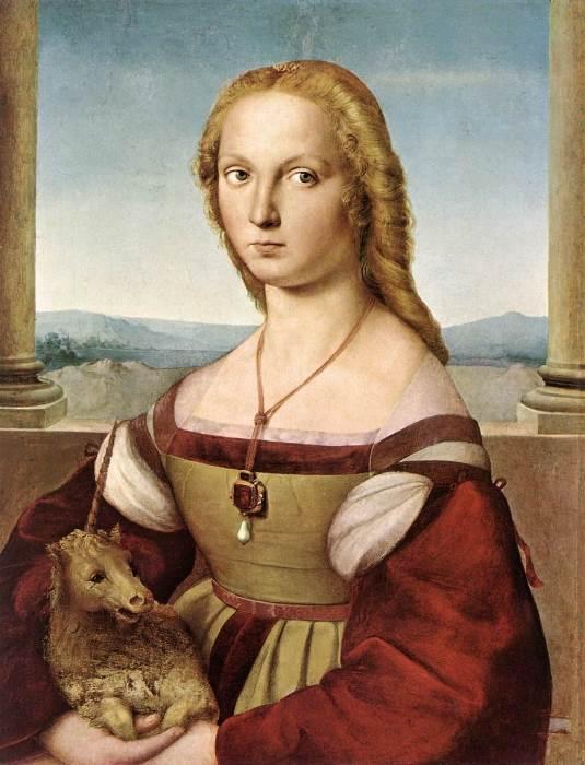 Дама с единорогом картина Рафаэля Санти