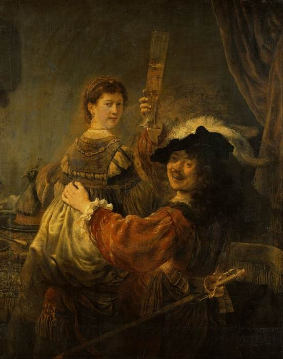Автопортрет с Саскией картина Рембрандта