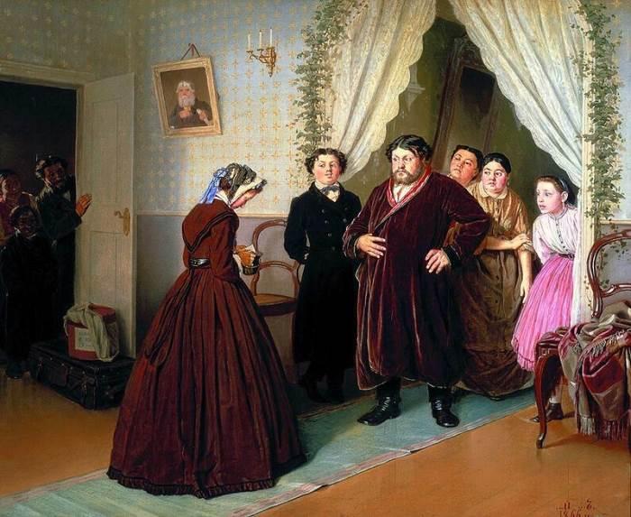 Приезд гувернантки в купеческий дом Перов