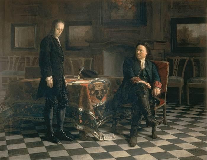 Петр I допрашивает царевича Алексея в Петергофе картина Николая Ге