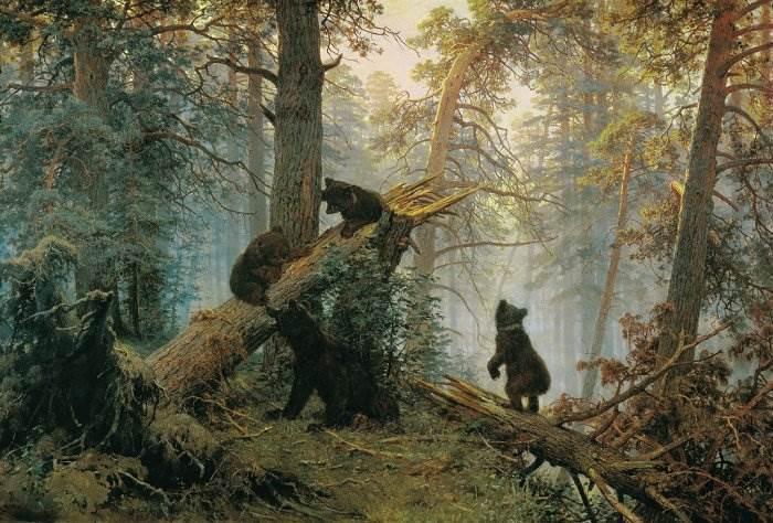 Утро в сосновом лесу картина Шишкина