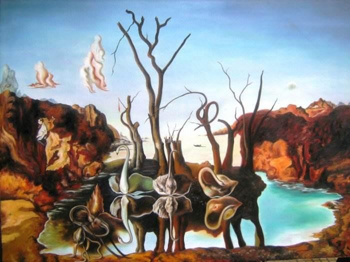 Лебеди, отраженные в слонах Сальвадор Дали