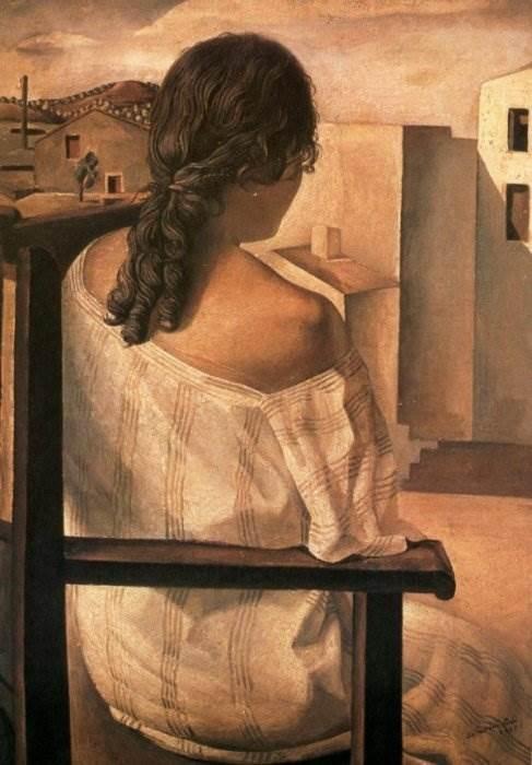 Молодая женщина, увиденная со спины картина