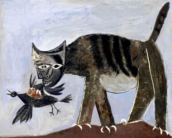 Кошка, схватившая птицу картина Пабло Пикассо