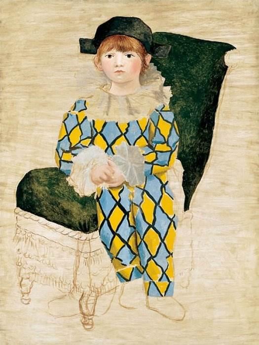 Пикассо картина Поль в костюме Арлекина