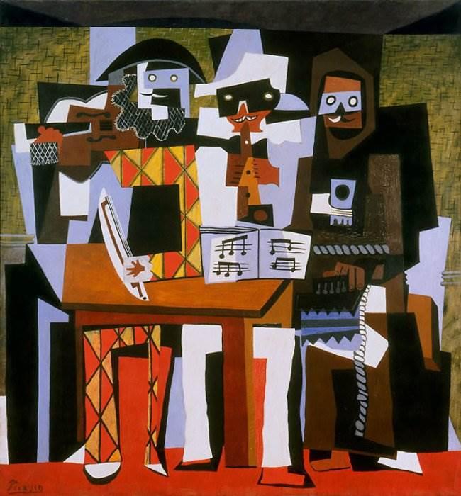 Три музыканта картина Пабло Пикассо