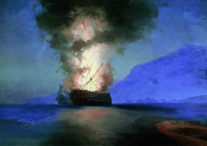 Взрыв турецкого корабля последняя картина Айвазовского