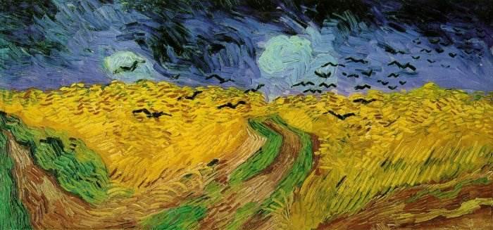 Пшеничное поле с воронами картина Ван Гога