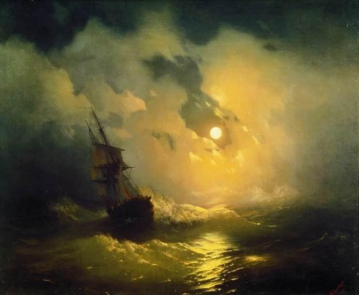 Картина Буря на море ночью Айвазовский