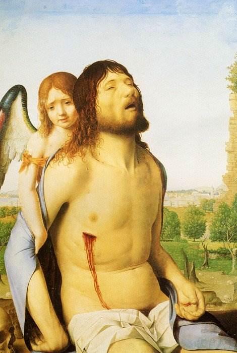 Антонелло да Мессина - Мертвый Христос, поддерживаемый ангелом