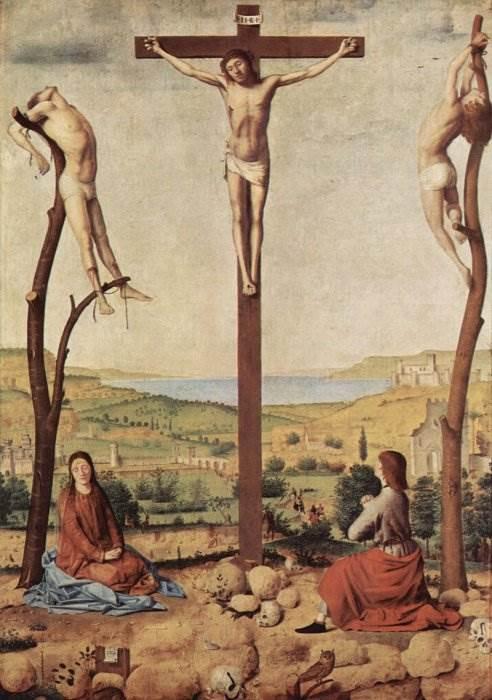 Антонелло да Мессина - Распятие с Марией и Иоанном