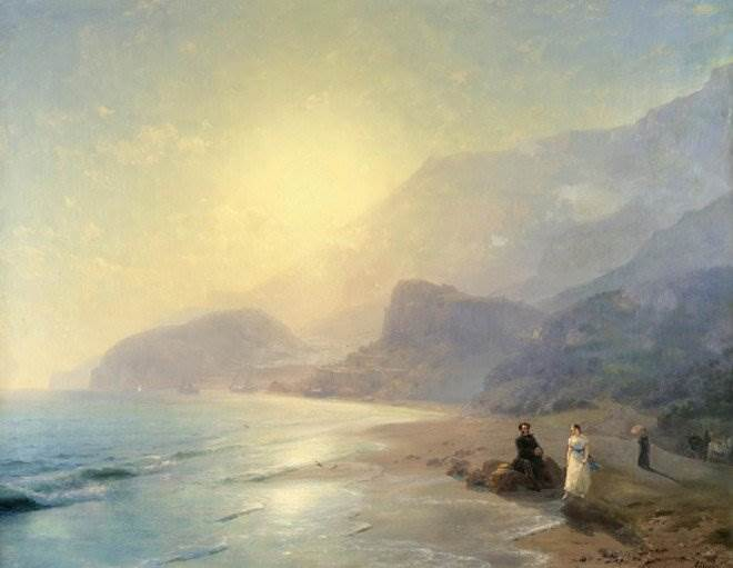 Пушкин и графиня Раевская у моря около Гурзуфа
