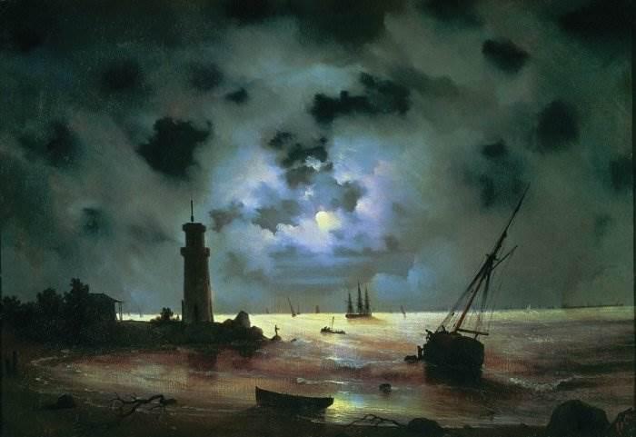 Айвазовский - Берег моря ночью. У маяка