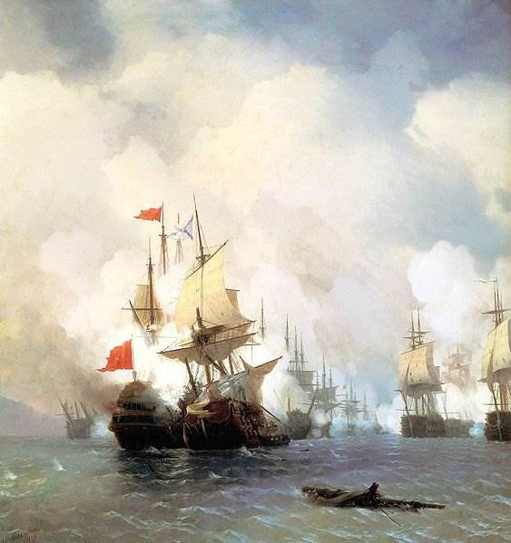 Айвазовский - Бой в Хиосском проливе 24 июня 1770 года