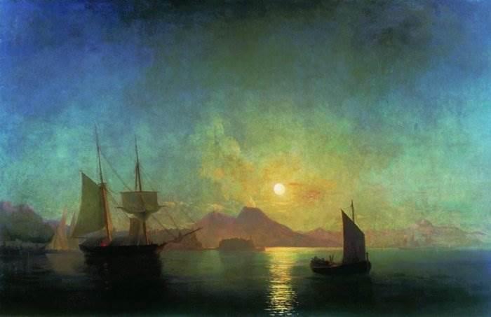 Айвазовский - Вид на Везувий в лунную ночь