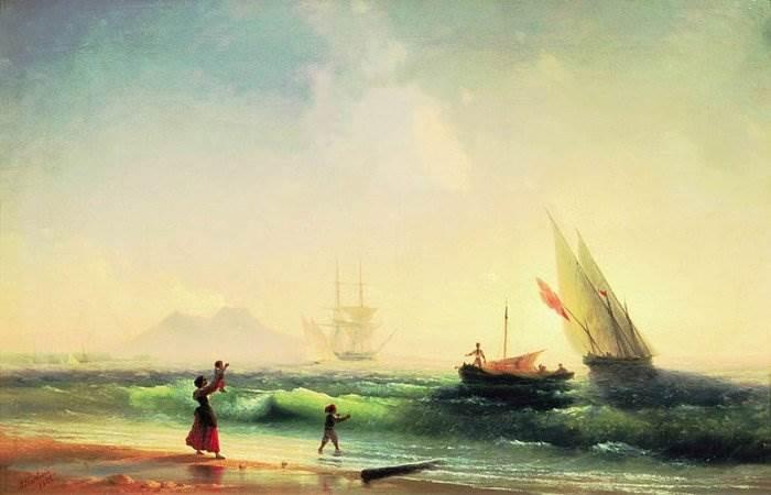 Встреча рыбаков на берегу Неаполитанского залива