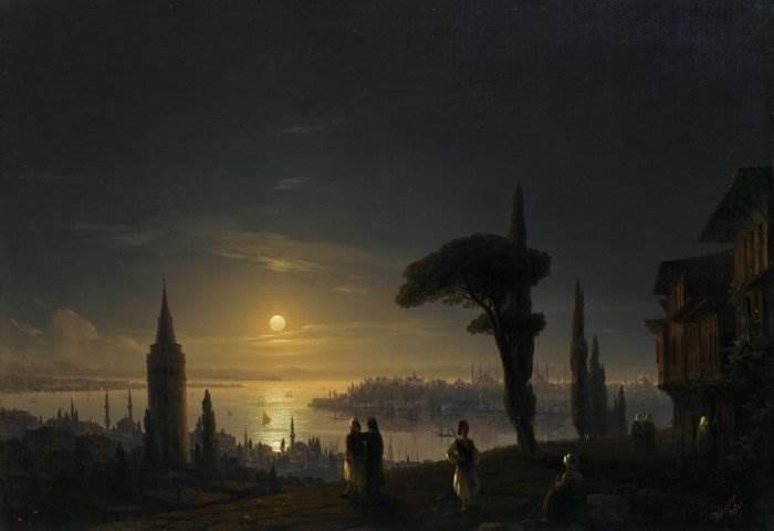 Айвазовский - Галатская башня в лунную ночь