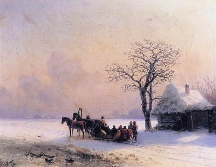 Айвазовский - Зимняя сцена в Малороссии