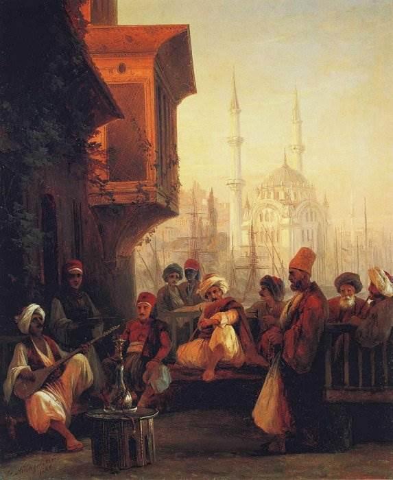 Айвазовский - Кофейня у мечети Ортакёй в Константинополе