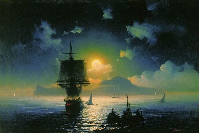 Айвазовский - Лунная ночь на Капри