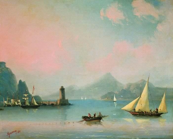 Айвазовский - Морской пролив с маяком