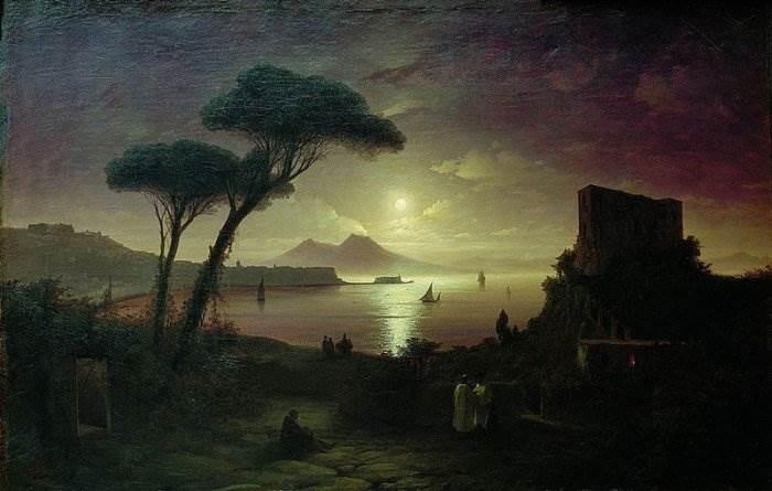 Айвазовский - Неаполитанский залив в лунную ночь