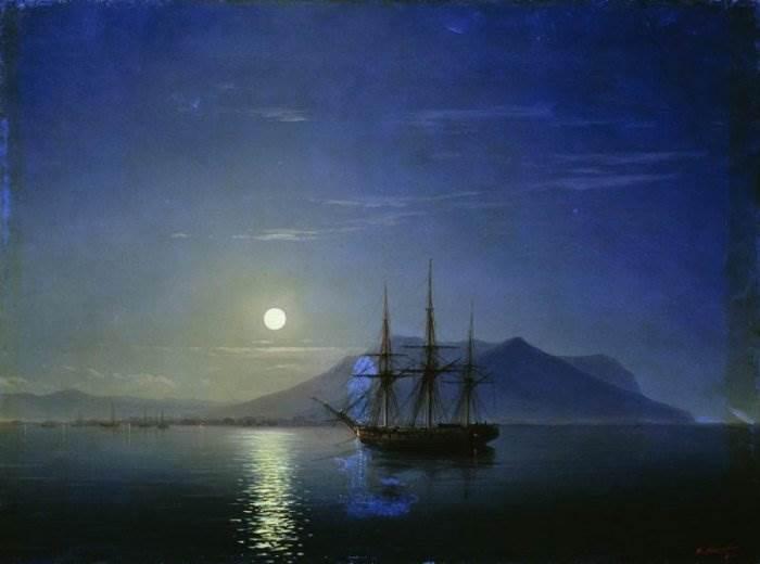 Айвазовский - Парусник у берегов Крыма в лунную ночь