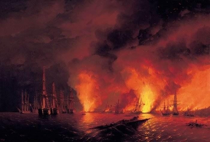 Айвазовский - Синопский бой 18 октября 1853 года
