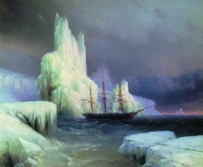 Ледяные горы в Антарктиде картина