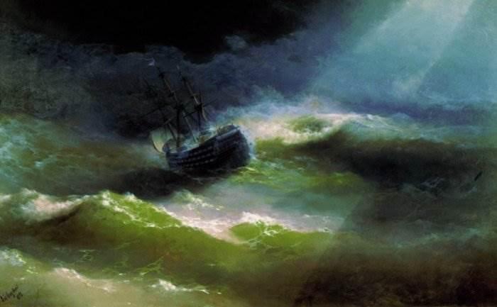 Айвазовский - Корабль Императрица Мария во время шторма