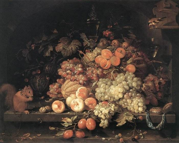 Натюрморт с фруктами, белкой и щеглом
