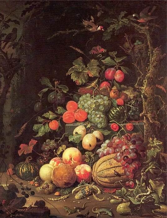 Натюрморт с фруктами, овощами, ящерицами и мышами