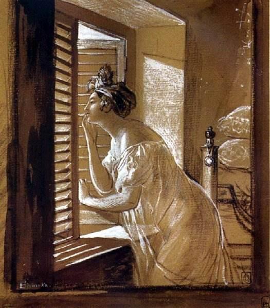 Брюллов - Женщина, посылающая поцелуй в окно