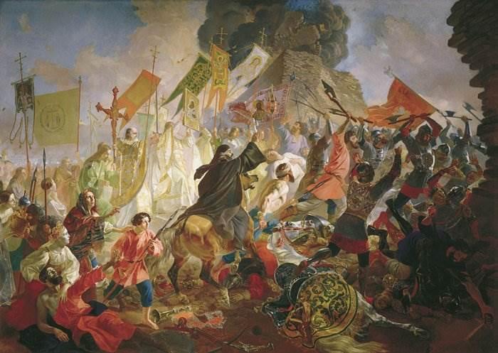 Брюллов - Осада Пскова польским королём Стефаном Баторием