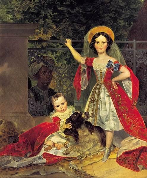 Брюллов - Портрет детей Волконских с арапом