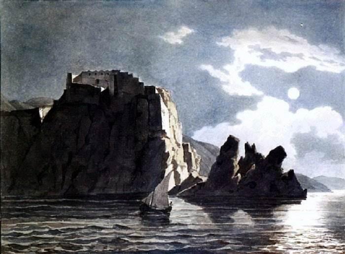 Брюллов - Скалы и луна ночью