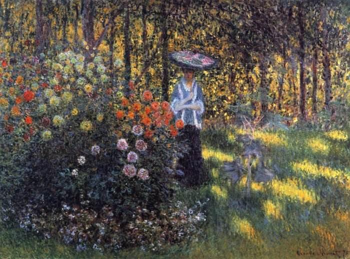 Моне - Женщина с зонтиком в саду Аржантёя