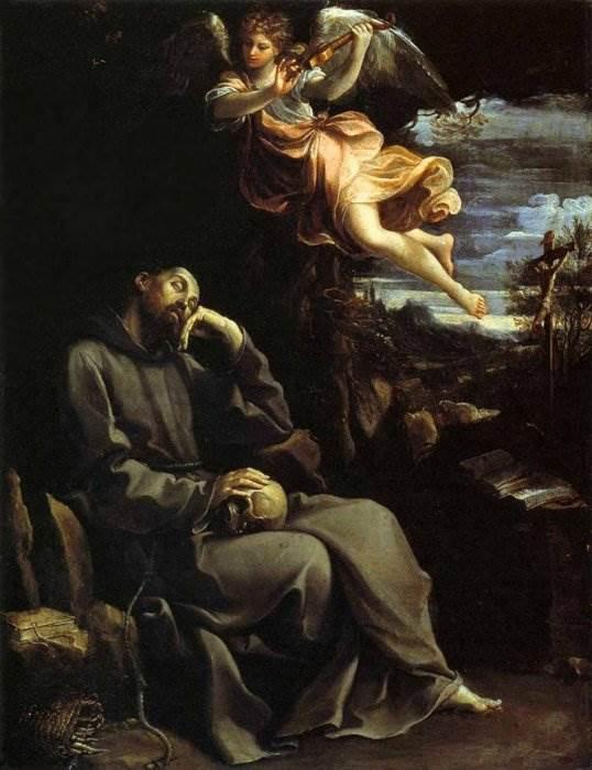 Святой Франциск утешается ангельской музыкой