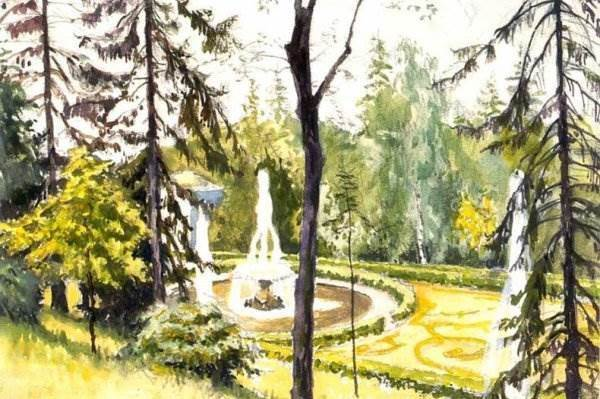 Бенуа - Петергоф. Нижний фонтан