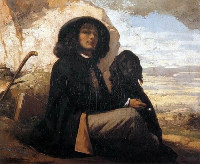 Гюстав Курбе - Автопортрет с чёрной собакой