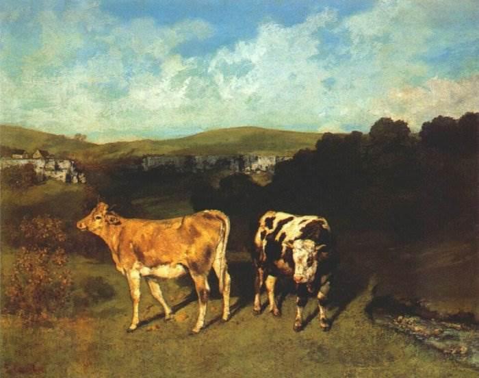 Гюстав Курбе - Белый бык и светлокоричневая телка