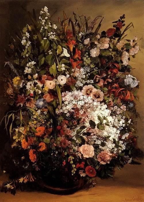 Гюстав Курбе - Букет цветов в вазе