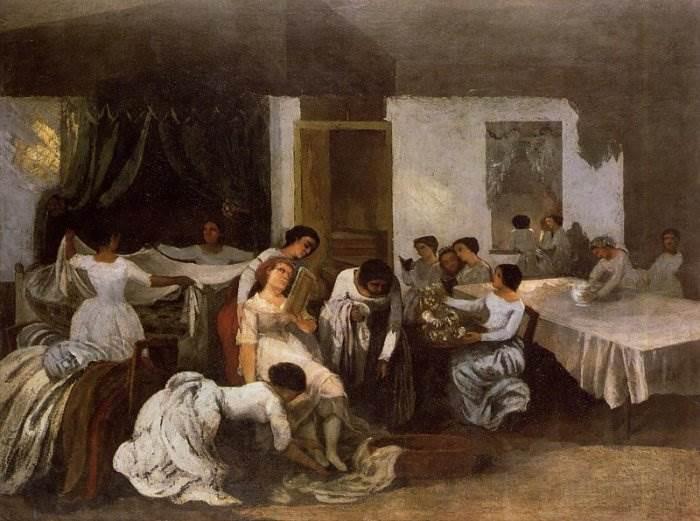 Гюстав Курбе - Одевание мертвой девушки