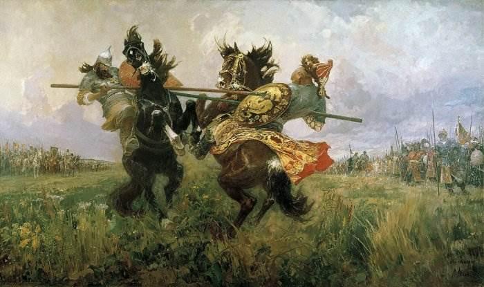 Поединок Пересвета с Челубеем на Куликовом поле - картина Авилова