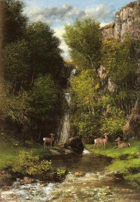 Гюстав Курбе - Семейство оленей у водопада
