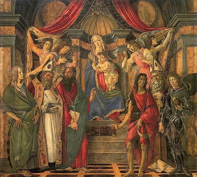 Боттичелли - Мадонна на троне с четырьмя ангелами и шестью святыми