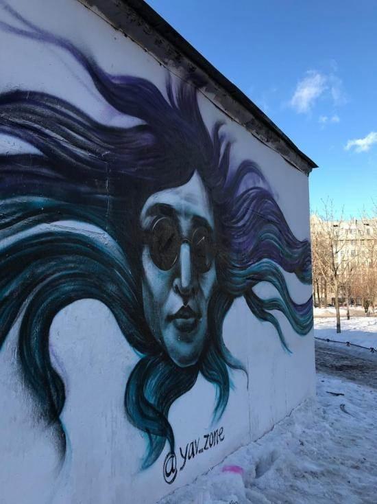 Граффити с Егором Летовым в Петербурге фото